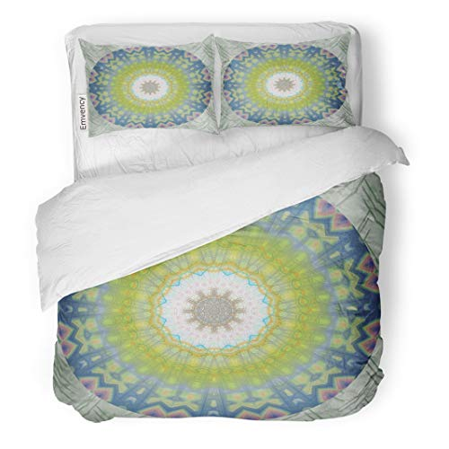 Semtomn Decor Duvet Cover Set King Size Green Olive Blue Smokey Decretive Kaleidoscope Circle Twist Turn 3 Piece Brushed Microfiber Fabric Print Bedding Set Cover ()