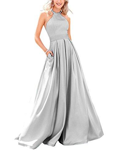 Beauté Pour Femmes De Mariée Robes De Bal De Satin Haut Long Cou Perles Argent Robes De Soirée