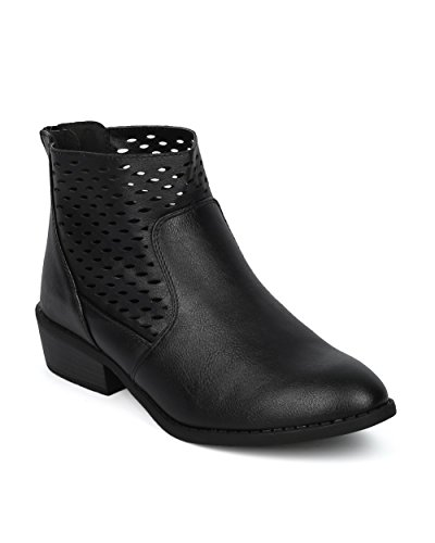 Alrisco Women Perforated Shaft Western Low Heel Ankle Bootie - HF36 by Wild Diva Collection Black Leatherette wNxj3GrQV