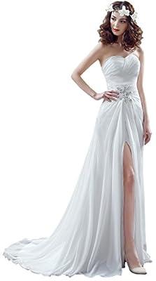 BessWedding Chiffon Wedding Dresses 2016 Beach Wedding Gowns with Front Split