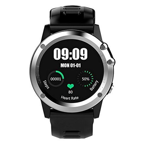 Bluetooth GPS Fitness Activity Tracker for IP68 Smartwatch with Heart Rate Sleep Monitor with 512MB and 4GB - Silver by OLSUS