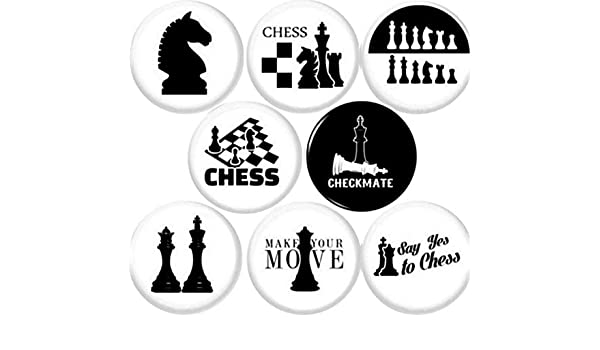 """Set of 16 CHESS PIECES SILVER Buttons Pinbacks Badges 1 inch 1/"""""""