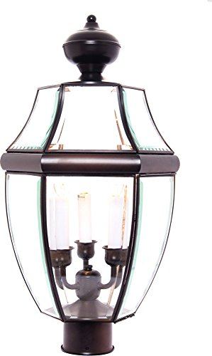 Maxim 6098CLBU South Park 3-Light Outdoor Pole/Post Lantern, Burnished Finish, Clear Glass, CA Incandescent Incandescent Bulb , 50W Max., Dry Safety Rating, 2900K Color Temp, Standard Dimmable, Fabric Shade Material, 3200 Rated Lumens