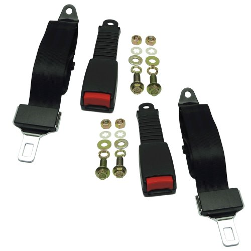 Nonretractable Lap Belts ((2) Universal Seat/Lap Belt Kits For Club Car, Yamaha, EZGO Golf Carts- Seatbelt)