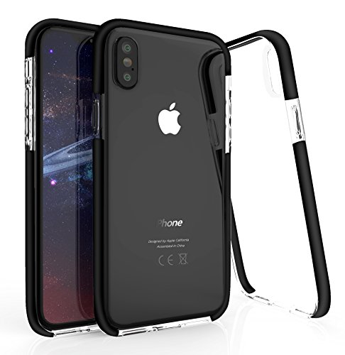iPhone X Case, IPhone X Edition Case,Zouhug Ultra Slim See-Through Transparent Clear Anti-scratch Flexible Protective Case TPU Bumper Cover for Apple iPhone X(Clear+Black)