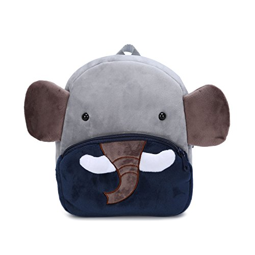 Cute Small Toddler Kids Backpack Plush Animal Cartoon Mini Children Bag for Baby Girl Boy Age 1-3 Years Blue Elephant
