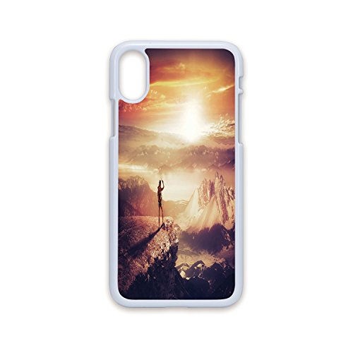 Phone Case Compatible with iPhone X White Edge 2D Print,Adventure,Traveler Woman with Backpack on Mountain Surveying Sunset Adventure Photo Print,Multicolor,Hard Plastic Phone Case ()