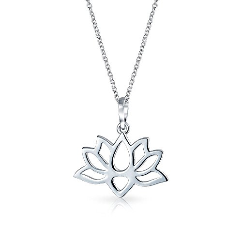 - Lotus Flower Blossom Cut Out Pendant Necklace For Women For Girlfriend For Yogi 925 Sterling Silver With Chain