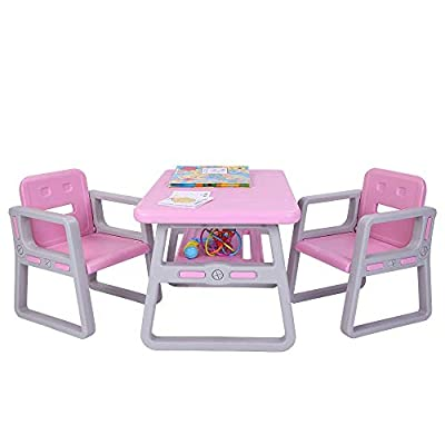 JOYMOR Multipurpose Kids Table and Chair Set, Certified Safe and Easy-Clean 3-Piece Kids Furniture Set, Includes 1 Activity Table with Storage Space & 2 Chairs,Kiddie-Sized Plastic Furniture (Pink): Kitchen & Dining