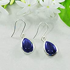 8897fdaac060 Sivalya 3.00 Ctw Pear Cut Navy Blue Lapis Lazuli Earrings in 925 Sterling  Silver.