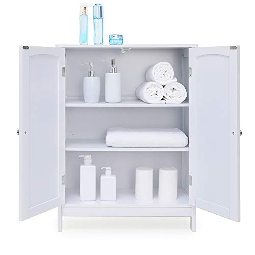 IWELL Bathroom Floor Storage Cabinet With 2 Adjustable