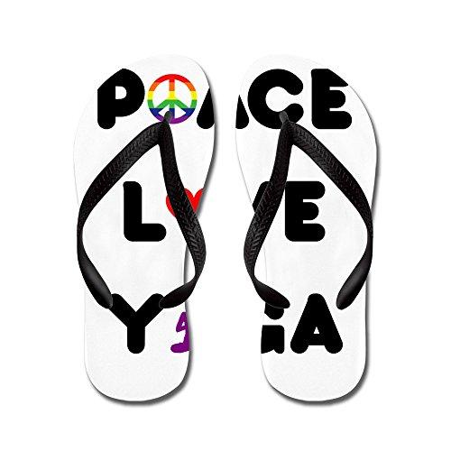 Cafepress Fredförälskelse Yoga - Flip Flops, Roliga Rem Sandaler, Strand Sandaler Svart