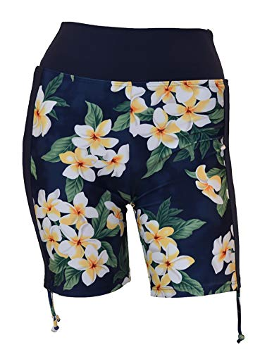 Island Plumeria (Private Island Hawaii Women UV Rash Guard Adjustable Tie Side Board Shorts Pants, Outdoor Track Suit/Yoga Clothing/RSAP (XXX-Large, Hawaiian Navy Plumeria))