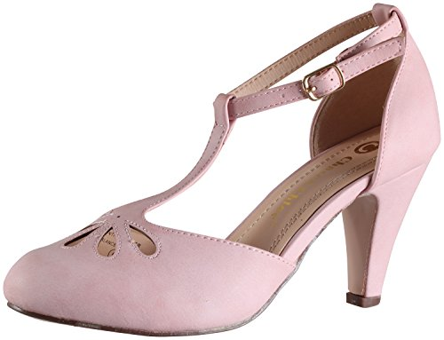- Chase & Chloe Kimmy-36 Women's Teardrop Cut Out T-Strap Mid Heel Dress Pumps (11 B(M) US, Rose Pink PU)