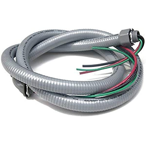 Sealproof Power Whip Assembly 3 4 Inch X 6 Ft Nonmetallic Liquid Tight Flexible Electrical Conduit And 8 Gauge Wire Single Phase Preassembled A C Hook Up Whip Kit 3 4 Dia Amazon Com