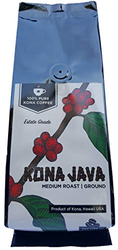 Kona Coffee by Kona Java - 100% Pure Fancy Hawaiian Beans, Not a Blend - Kona Ground - Gourmet Medium Roast - Grown on Real Hawaii Volcanic Soil and Freshly Roasted