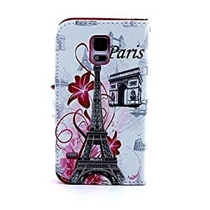 PEACH Famous Building Eiffel Tower Pattern PU Leather Case with Card Slots and Stand for Samsung Galaxy S5 I9600
