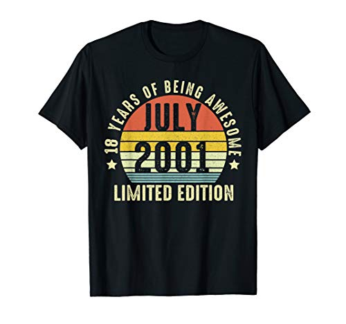 18th Birthday Limited Edition Retro JULY 2001 18 Shirt Gifts ()