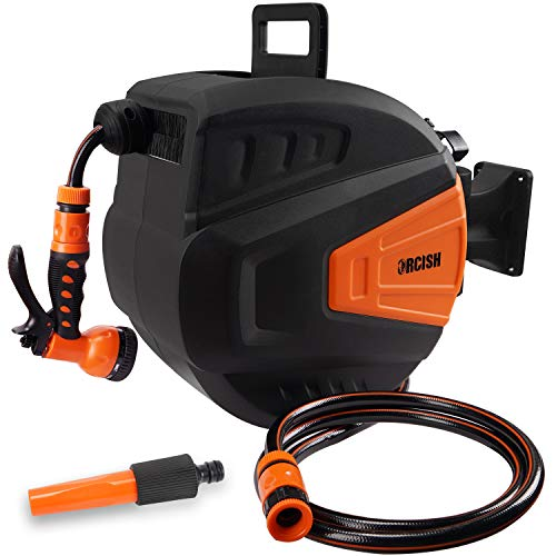 ORCISH Retractable Garden Hose-Reel with 9 Adjustable Sprayer Nozzle 3/8 in. x 66 FT Water Hose, Wall Mount/Auto Rewind