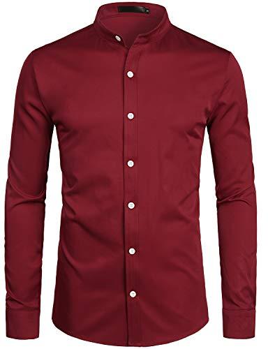 - ZEROYAA Mens Hipster Solid Slim Fit Long Sleeve Mandarin Collar Dress Shirts ZLCL08 Burgundy X-Large