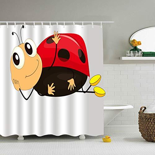 Qilrocm Bathroom Curtains Cute Ladybird Extra Long Shower