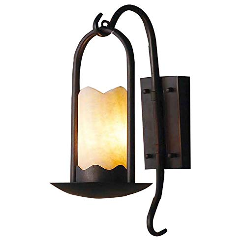 (Ladiqi Wall Sconce Lighting Fixtures Loft Retro Vintage Wall Light Lamp Beside Light Sconce with Cylindrical Alabaster Shade Unique Candle Design for Bedroom Living Room)