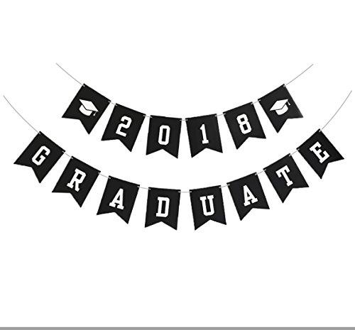 Famoby Black 2018 Graduate Banner For Graduation Party (Graduate Banner)