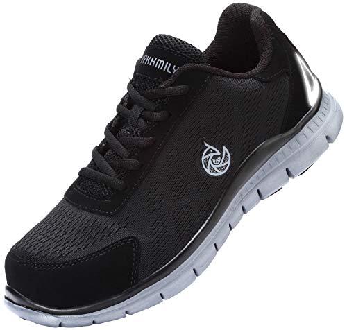 LARNMERN Steel Toe Shoes Men, Work Safety Sneakers Reflective Strip Lightweight Industrial & Construction Shoe /11.5/Matte Black (Best Work Sneakers 2019)