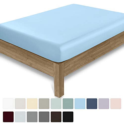 California Design Den 400 Thread Count 100% Cotton 1 Fitted Sheet Only, Long - Staple Combed Pure Natural Cotton Sheet, Soft & Silky Sateen Weave (Twin, Blue)