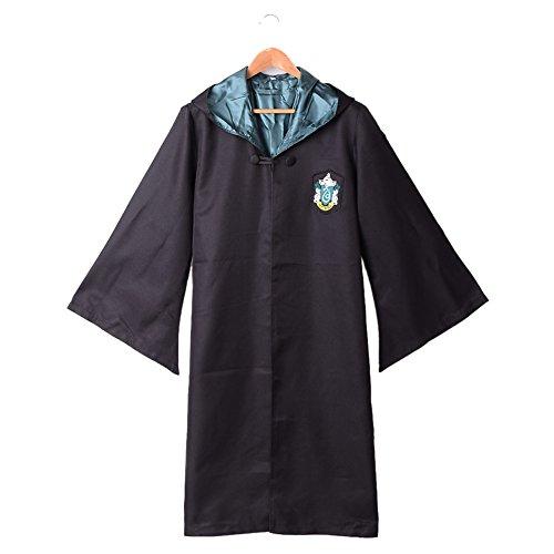 BLZ Magic School Cloak Adult Robe Black and Green S (Harry Potter School Uniform)