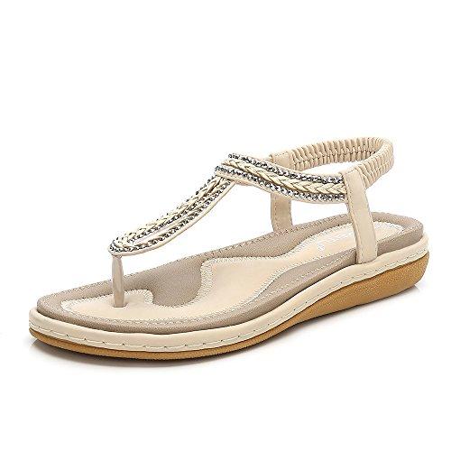 Meeshine Women T-Strap Rhinestone Beaded Gladiator Flat Sandals Summer Beach Sandal Apricot-02 US 8.5