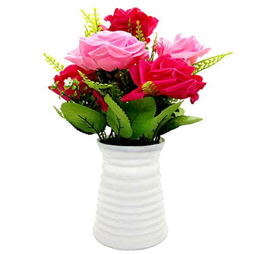 - UIKKOT Artificial Flowers Silk Bouquet Fake Roses with Plastic Vase Arrangements for Indoor Outdoor Decorations Wedding Party Home Videos Table Gift or MV (Pink and Red)