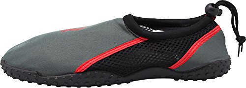 Norty Young Mens Aqua Sock Wave Water Shoes - Slip-on Impermeabili Per Piscina, Spiaggia E Sport - Corre 1 Taglia Small Carbon / Red