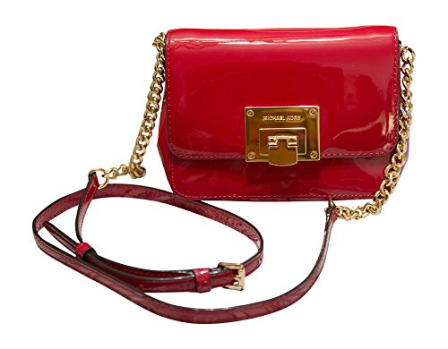 Patent Leather Logo Handbag (Michael Kors Tina Small Patent Leather Clutch, Crossbody Shoulder Bag, Cherry)
