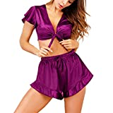 Lingerie Pajama Set for Women, Wesracia Sexy Satin Nightgown, Women'S Navel Crop Top and High Waist Shorts(Purple,XL)
