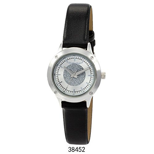 Montres Carlo Black Faux Leather Strap with Silver Case Silver Dial