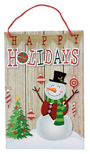 Happy Holidays Snowman Christmas Decorative Hanging Sign ()