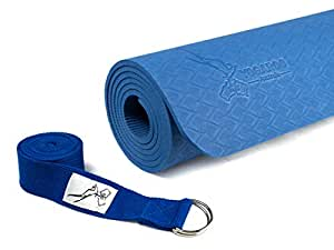 "YOGAROO Australia Eco Friendly Non Slip Yoga Mat, SGS Certified TPE Material - Textured Non Slip Surface and Optimal Cushioning, 72""x 25"" Thickness 1/4"" (6mm) (Blue)"