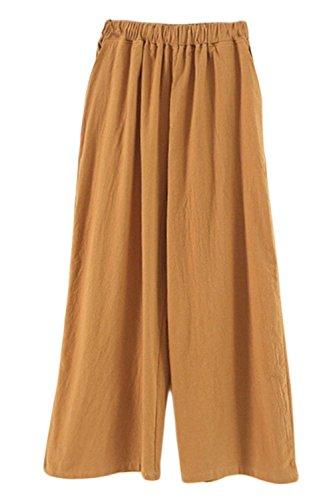 Anaisy Pantalone Donna Elegante Pantaloni Palazzo Culotte Estivi Colori Solidi Vita Elastica Giovane Grazioso Baggy Tempo Libero Pantalone Larghi Women Gelb