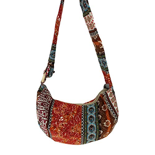 JZE Cotton Large Bohemian Hippie Thai Top Zip Handmade Hobo Sling Crossbody Bag Side Purse Tote Bag Paisley Print with Adjustable Strap (Orange)