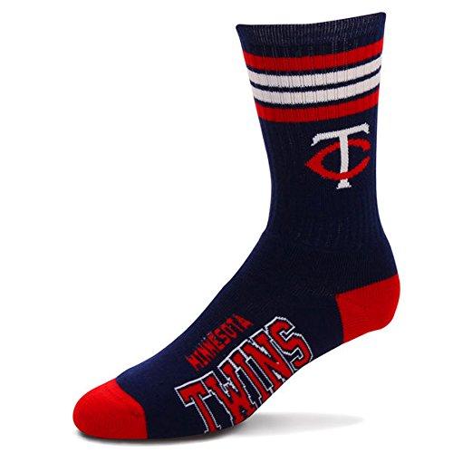 MLB 4 Stripe Deuce Socks Available in 28 Teams - Men's Large (fits 10-13) (Minnesota Twins)