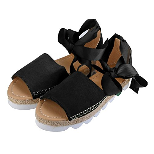 ZycShang Women Sandals Ladies Flat Lace up Espadrilles Summer Chunky Holiday Sandals Shoes Size 6-8.5 Black MVgTRFY9