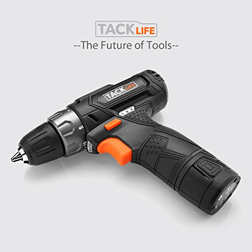 Tacklife-PCD02B-12V-Lithium-Ion-Cordless-DrillDriver-38-Inch-Chuck-Max-Torque-220-In-lbs-2-Speed-1-Hour-Fast-Charger-191-Position-with-LED-17pcs-DrillDriver-Bits-Included-Black