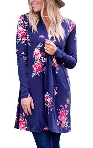 - ECOWISH Womens Boho Irregular Long Sleeve Wrap Kimono Cardigans Casual Coverup Coat Tops Outwear Dark Blue L