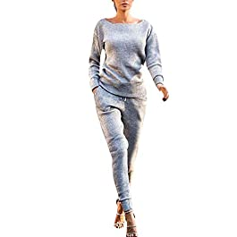 Tomatoa Womens Tracksuit Set Ladies Autumn Winter Slim Sexy Fintess Casual Long Sleeve 2 PCS Sportswear Set Ladies Joggers Active Sport Blouse Tops Pants Sets