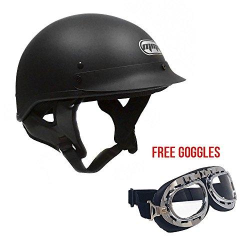 Motorcycle Cruiser Half Helmet DOT Street Legal – Flat Matte Black (Medium) + FREE Goggles Chrome Vintage Pilot Style