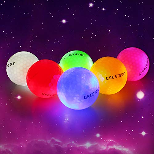 Crestgolf Flashing Glowing Golf Ball,Night Glow Flash Light up LED Golf Ball,six Color for Your Choice(6 Pack) (Updated Mixed Color(Brighter))