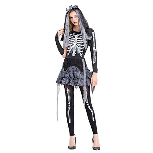 Nicki Minaj Halloween Costumes Ideas (GREFER Halloween Costumes for Women Zombie Bride Cosplay Gothic Dress 1 PC Women Dress+Pants+Headwear)