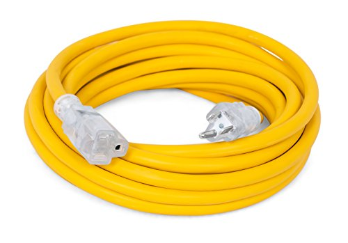 Internet's Best 25 FT Power Extension Cord with LED Lighted Plugs | 12 AWG (Gauge  12/3) Heavy Duty Outdoor/Indoor Power Extension Cable Cord | NEMA 5-15 R & 5-15P  SJTW | Yellow