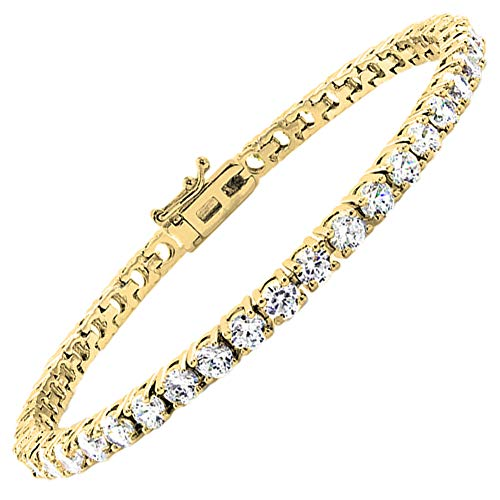 (Jade Marie Friendly 18k Yellow Gold Cubic Zirconia Bracelets 4 Prong Setting, Beautiful Gold Plated Tennis Bracelet with Round Cut CZ Gemstones, Fancy Crystal Wrist Bracelets for Women)